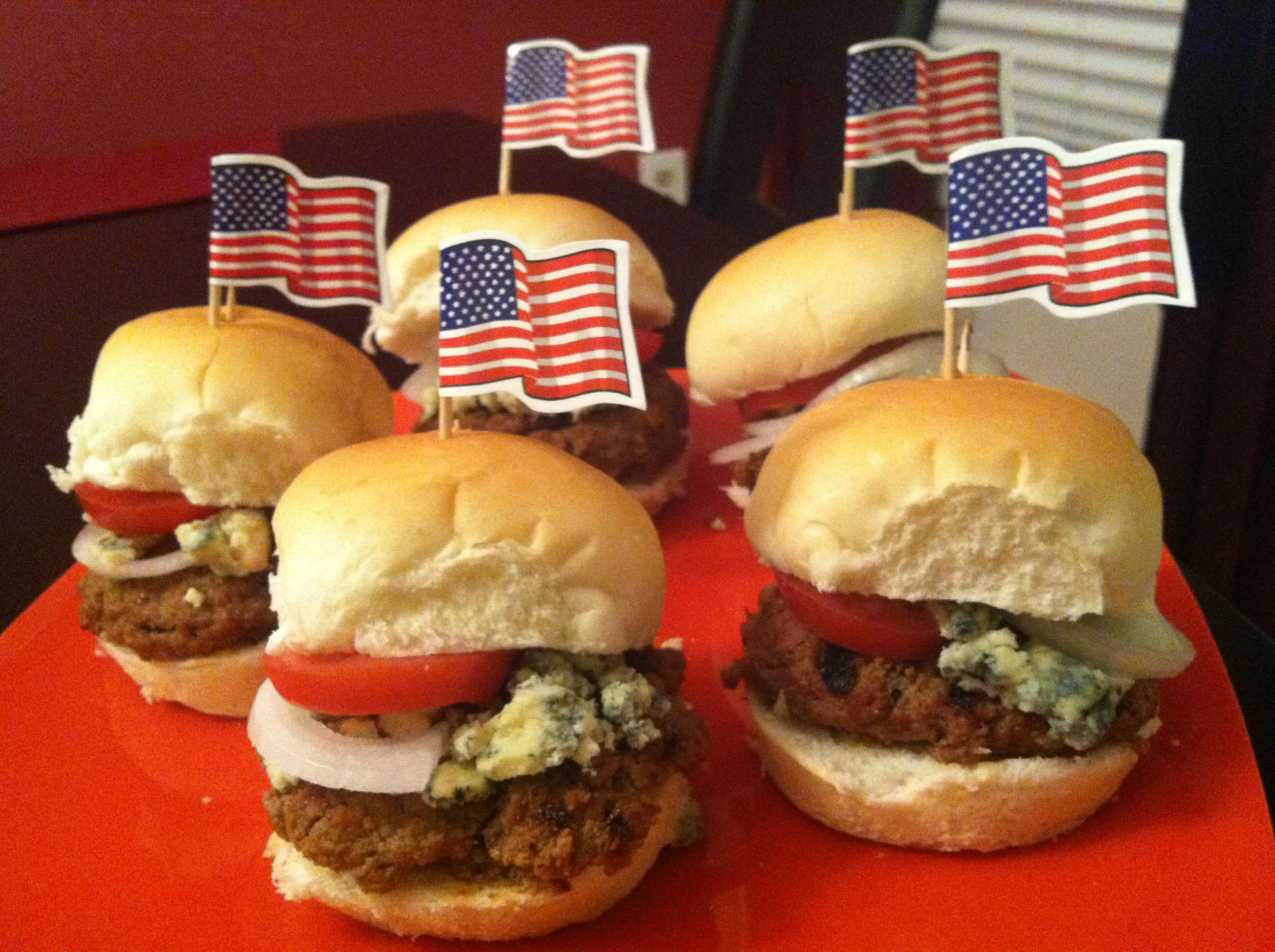 BBQ Burgers & Red, White and Blue (Cheese) Sliders Bar